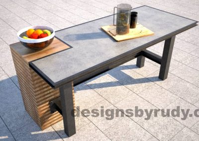 Concrete top serving table by Designs by Rudy DR STV2 top view with food