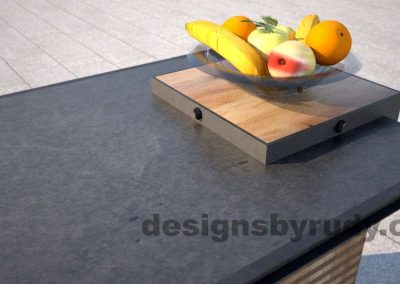 Concrete top serving table by Designs by Rudy, charcoal concrete top, fruit bowl closeup