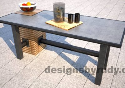 Concrete top serving table by Designs by Rudy DR STV2 side view with food