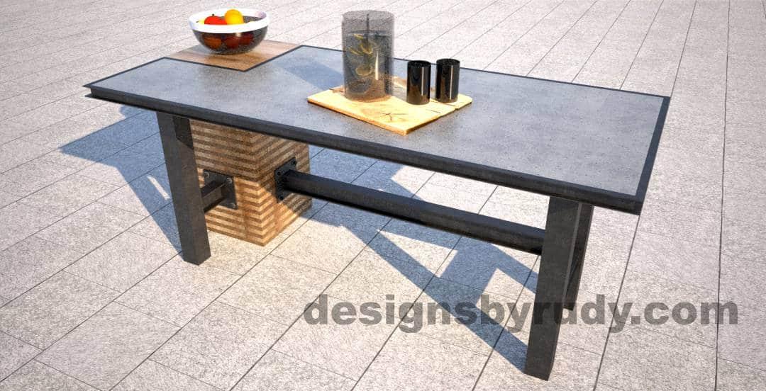 Fabulous DR STV2 Concrete Top Serving Table, 2 Steel Legs, Corner Column LU48