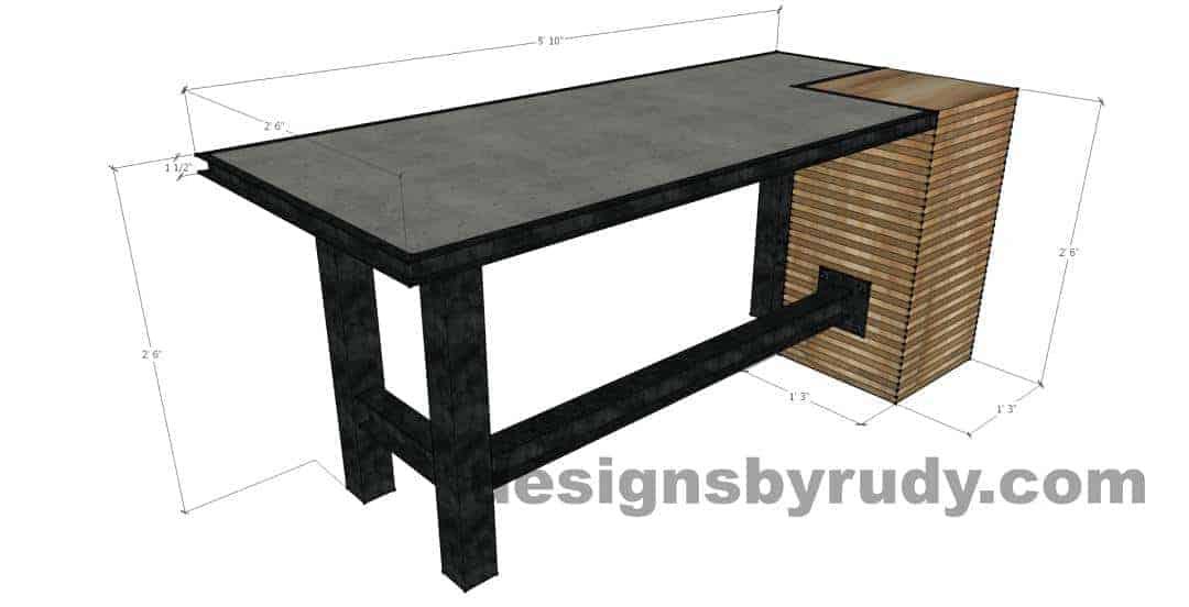 Super DR STV2 Concrete Top Serving Table, 2 Steel Legs, Corner Column LI61