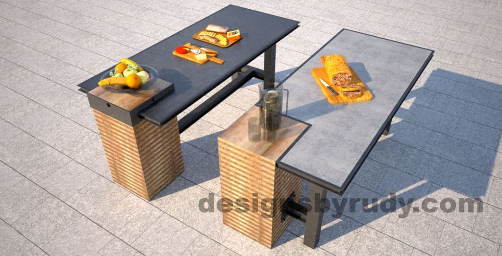 Two versions of oncrete top serving tables by Designs by Rudy, side by side with food