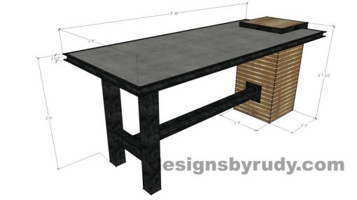 Concrete top serving table by Designs by Rudy - dimensions