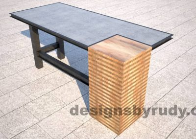 Concrete top serving table by Designs by Rudy DR STV2 wooden column corner view