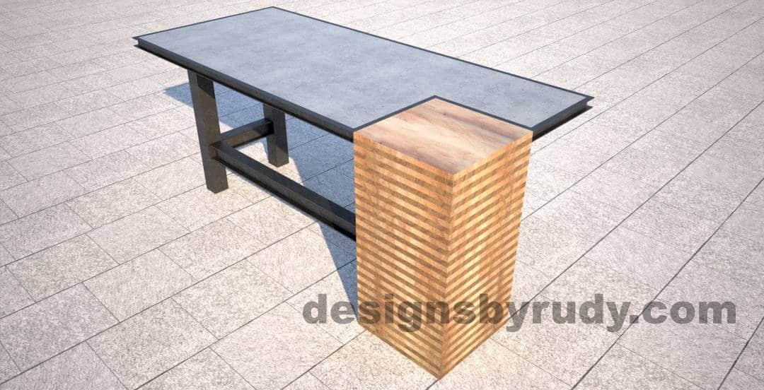 Finest DR STV2 Concrete Top Serving Table, 2 Steel Legs, Corner Column QK81