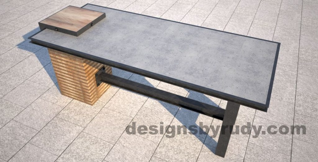 Concrete top serving table by Designs by Rudy top-angle view