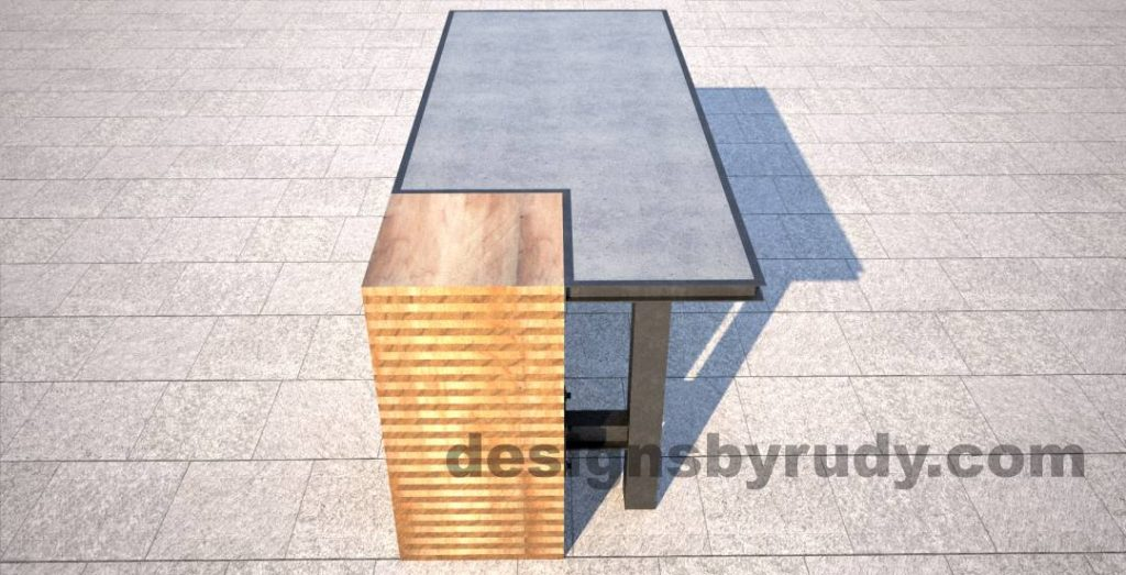 Concrete top serving table by Designs by Rudy DR STV2 wooden column rear view