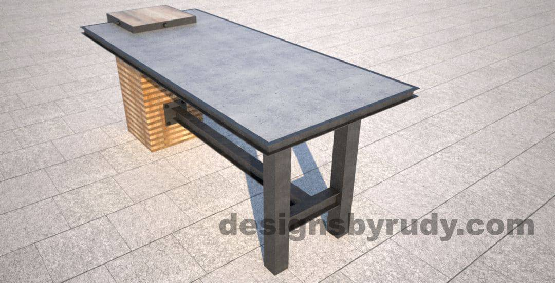 Well-known DR STV1 Concrete Top Serving Table, 2 Steel Legs, Side Centered Column WL08