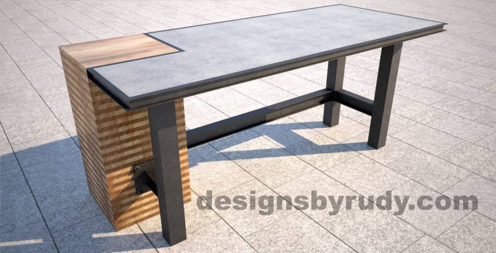 Concrete top serving table by Designs by Rudy DR STV2 wooden and steel column angle view