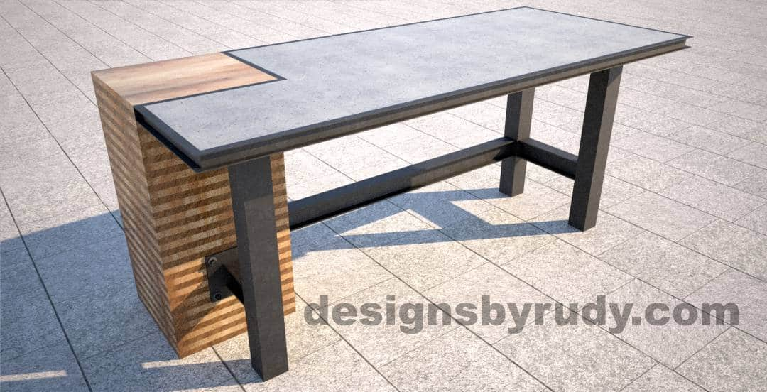 Concrete Top Serving Table By Designs Rudy Dr Stv2 Wooden And Steel Column Angle View
