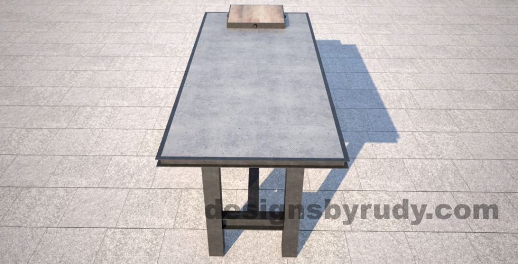 Concrete top serving table by Designs by Rudy side-long view
