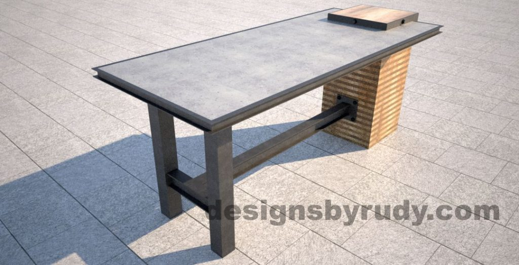 Concrete top serving table by Designs by Rudy angle - second corner view