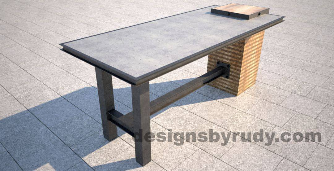 Well known DR STV1 Concrete Top Serving Table, 2 Steel Legs, Side Centered Column VW22