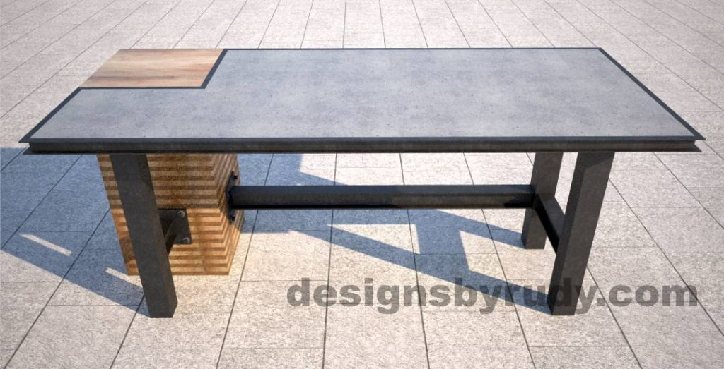 6 Concrete top serving table by Designs by Rudy DR STV2 front view opposite side