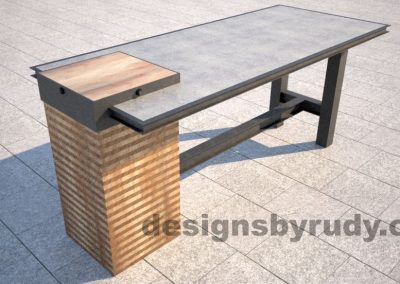 Concrete top serving table by Designs by Rudy layered plywood leg view 1