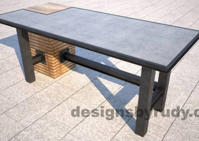 oncrete top serving table by Designs by Rudy DR STV2 front angle view
