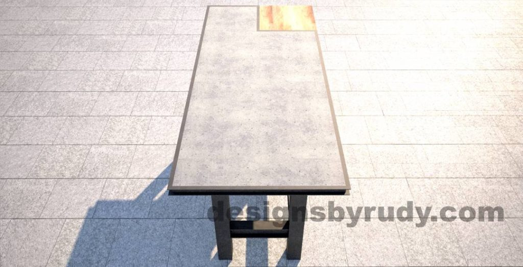 Concrete top serving table by Designs by Rudy DR STV2 long view