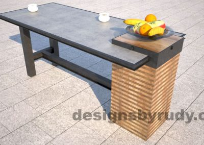 Concrete top serving table by Designs by Rudy rear-side view with fruit bowl and coffee cups