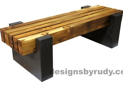 DRCBT4 Concrete bench with 5 teak logs top, open top supports, Designs by Rudy design and fabrication, front angle view