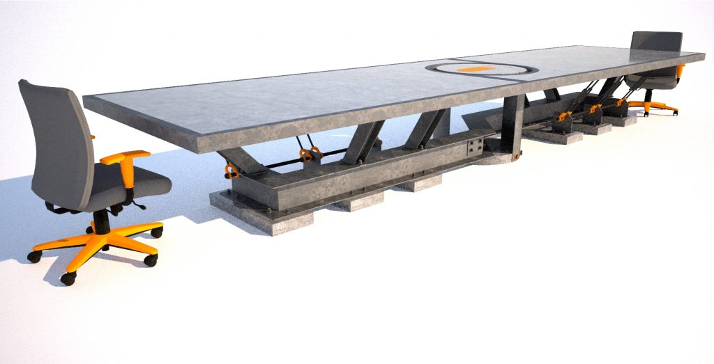 1 Steel and concrete conference room table, corner angle view, Designs by Rudy