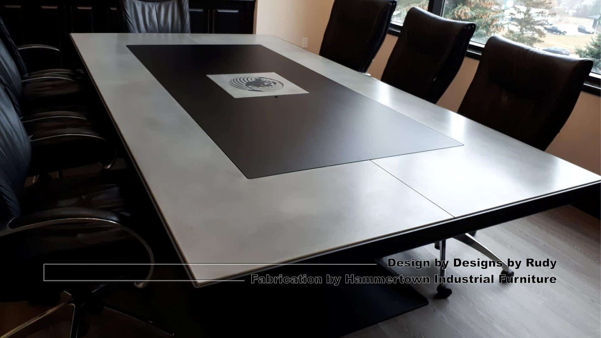 2 Concrete and steel boardroom table for NAC, Designs by Rudy, Hammertown Industrial Furniture, angle view