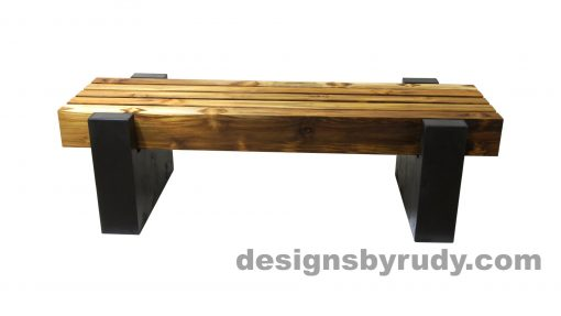 DRCBT4 Concrete bench with 5 teak logs top, open top supports, Designs by Rudy design and fabrication, side view