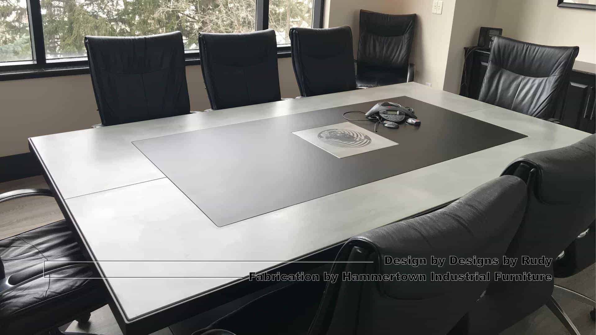 3 Concrete and steel boardroom table for NAC, Designs by Rudy, Hammertown Industrial Furniture, angle view