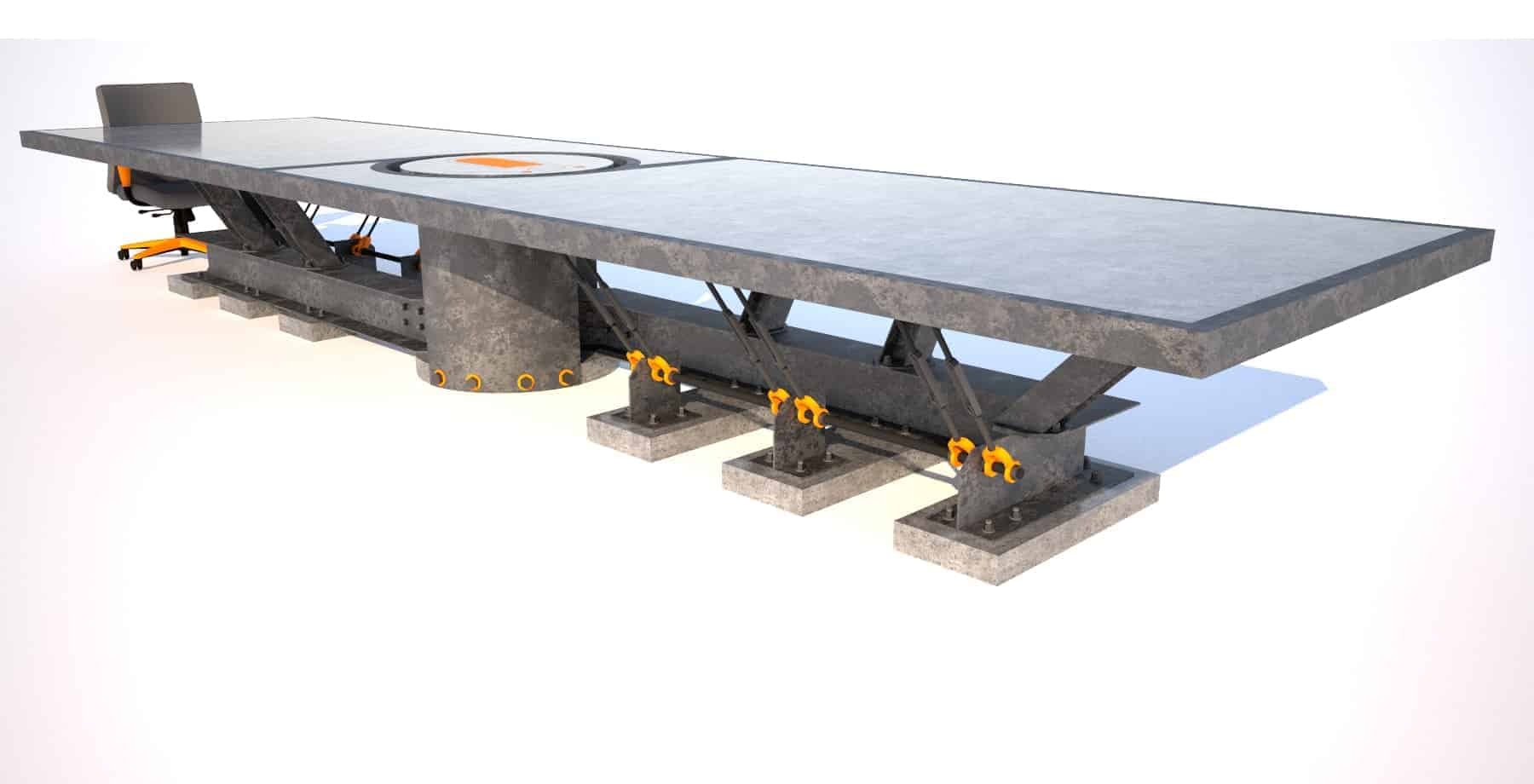 3 Steel and concrete conference room table, long angle view, Designs by Rudy