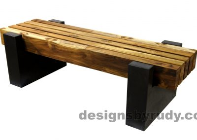 DRCBT4 Concrete bench with 5 teak logs top, open top supports, Designs by Rudy design and fabrication, front angle view 2
