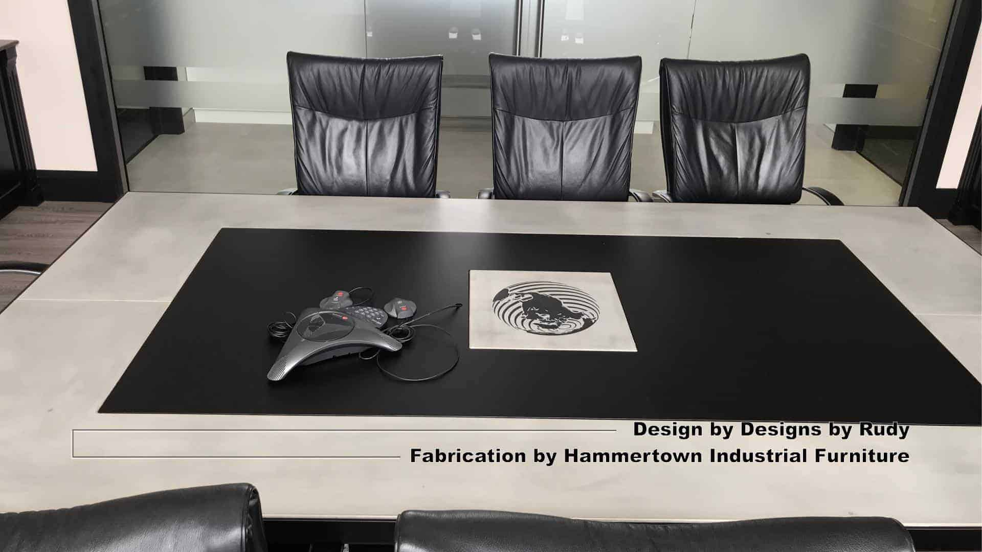 4 Concrete and steel boardroom table for NAC, Designs by Rudy, Hammertown Industrial Furniture, angle view