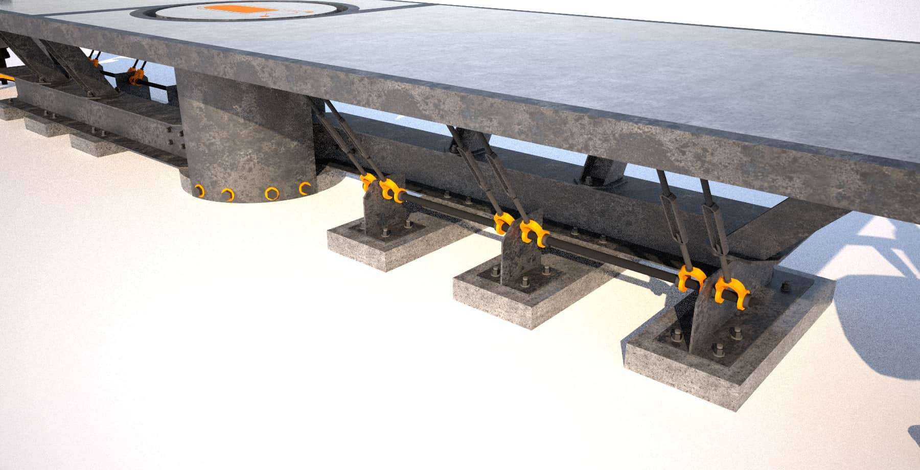 4 Steel and concrete conference room table, base angle closeup 1, Designs by Rudy