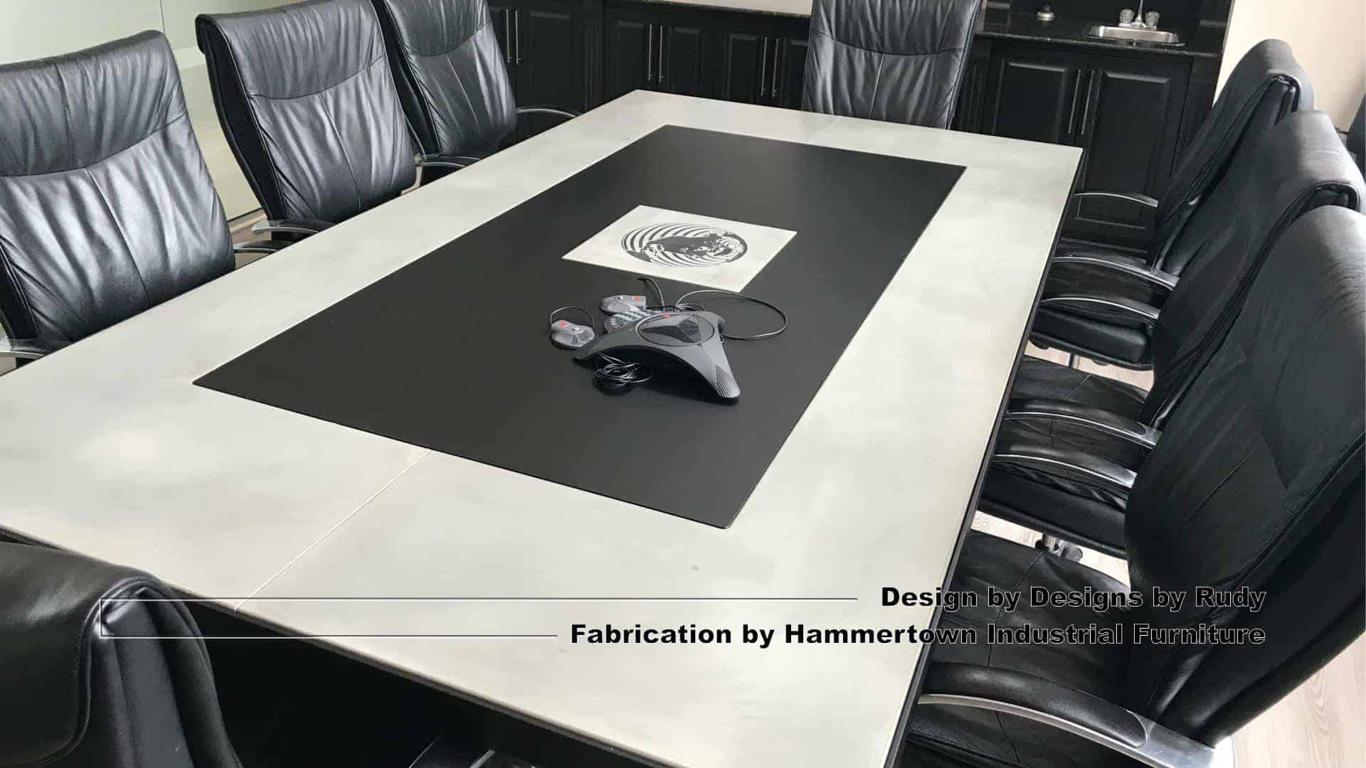 5 Concrete and steel boardroom table for NAC, Designs by Rudy, Hammertown Industrial Furniture, angle view