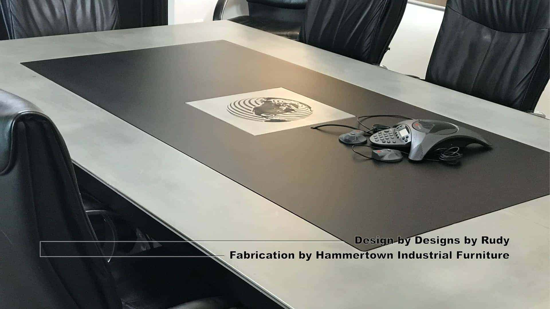 6 Concrete and steel boardroom table for NAC, Designs by Rudy, Hammertown Industrial Furniture, angle view