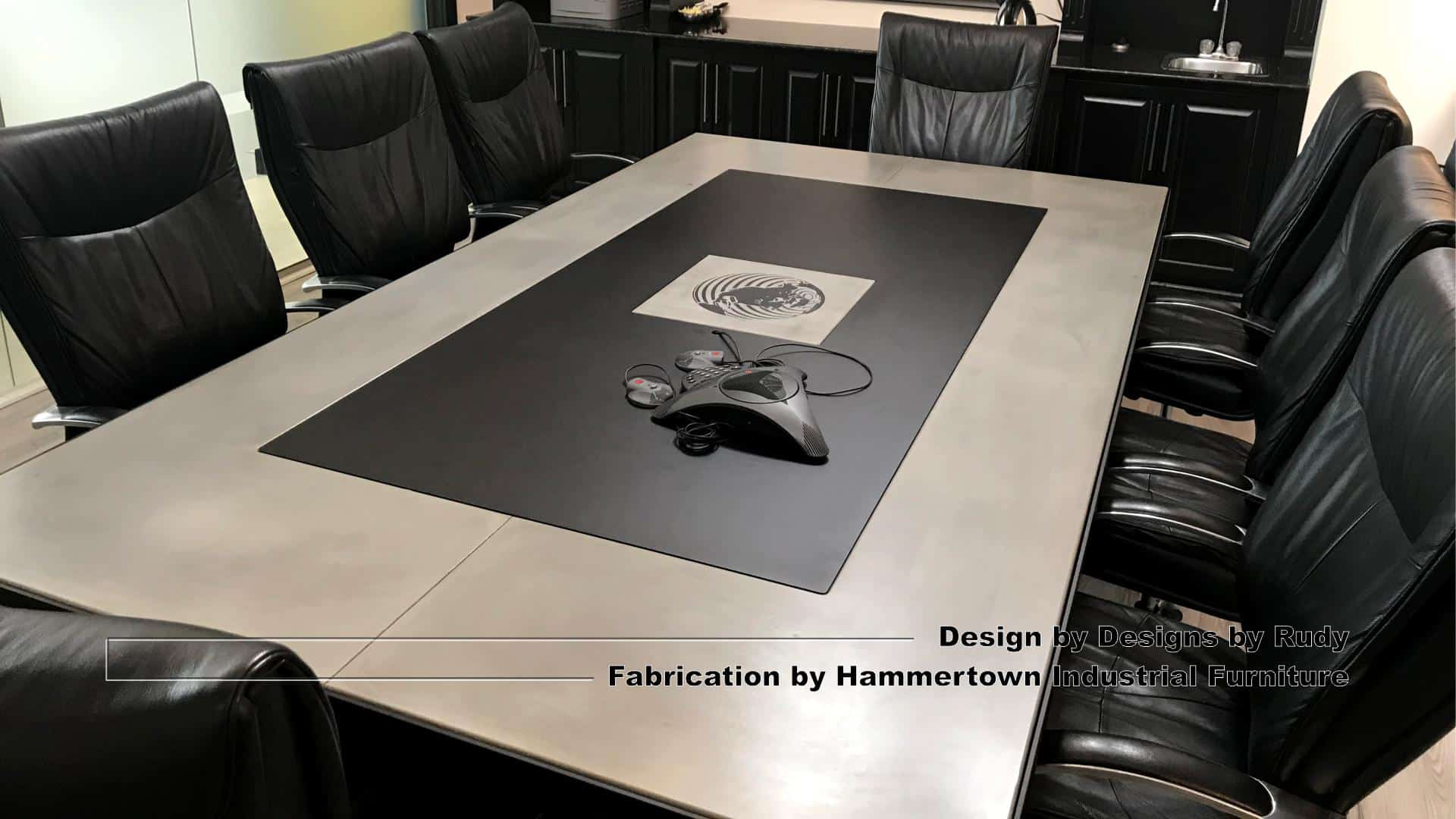 7 Concrete and steel boardroom table for NAC, Designs by Rudy, Hammertown Industrial Furniture, angle view