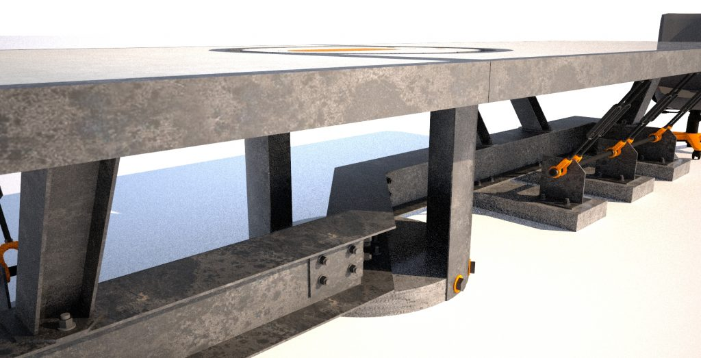 7 Steel and concrete conference room table, base angle view, Designs by Rudy