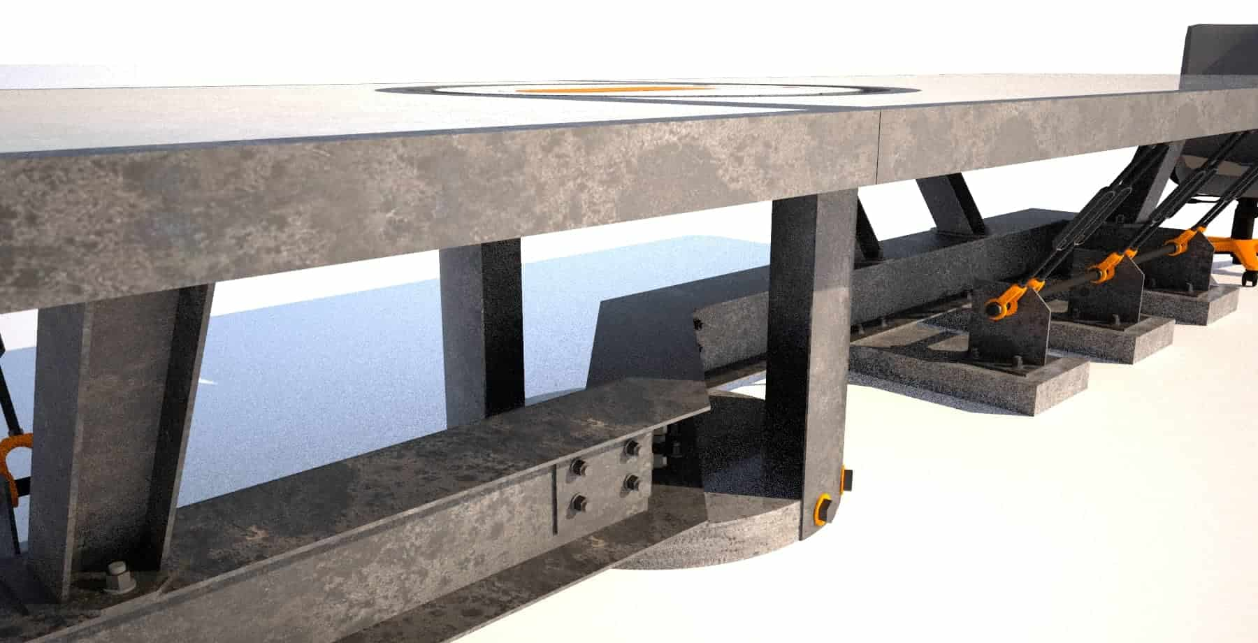 7 Steel and concrete conference room table, base angle view, Designs by Rudy (6)
