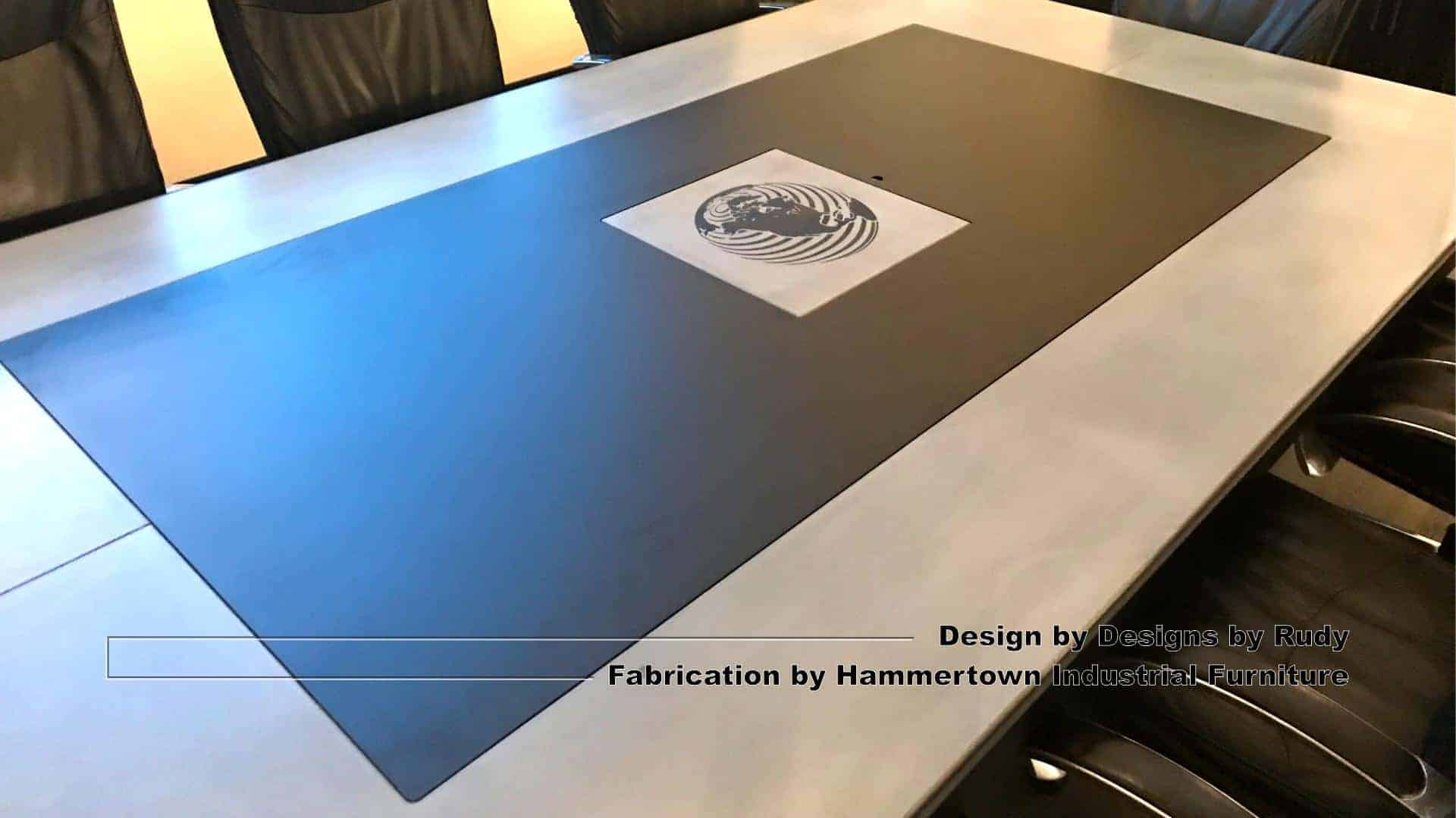8 Concrete and steel boardroom table for NAC, Designs by Rudy, Hammertown Industrial Furniture, angle view