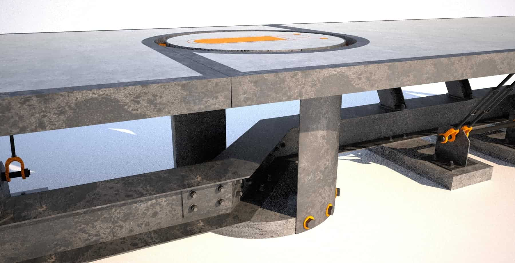 8 Steel and concrete conference room table, base center view, Designs by Rudy