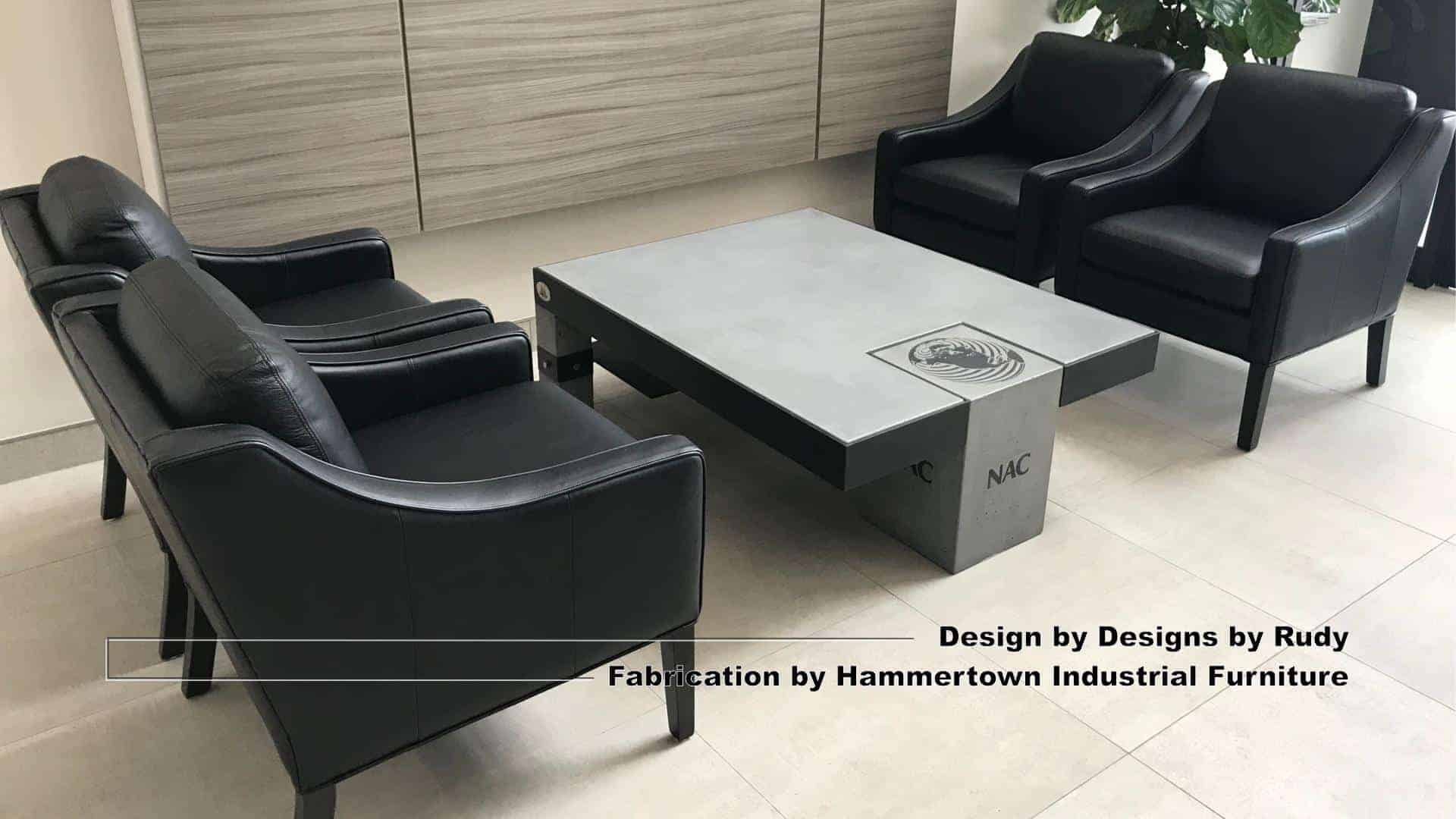 Concrete and steel coffee table for NAC, Designs by Rudy, Hammertown Industrial Furniture, view 1