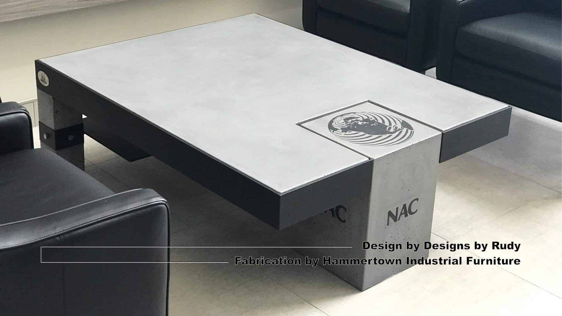 Concrete and steel coffee table for NAC, Designs by Rudy, Hammertown Industrial Furniture, view 2