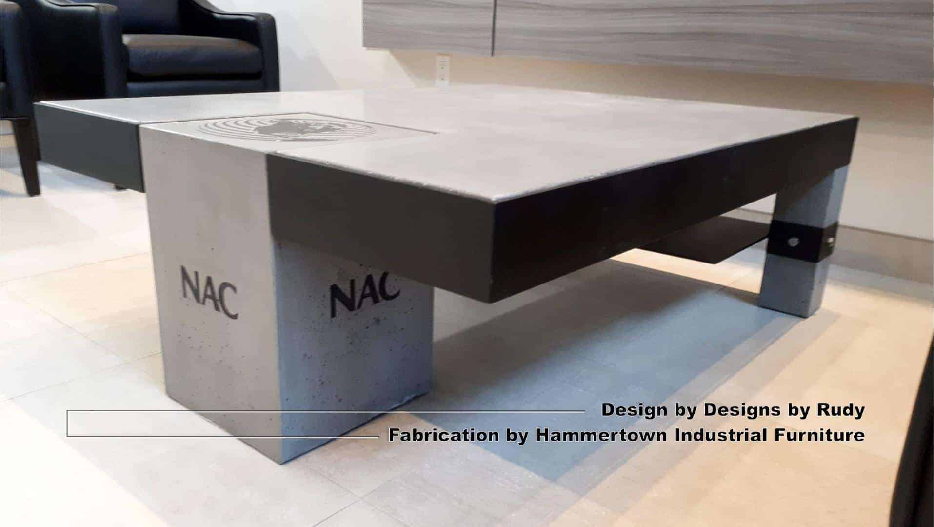 Concrete and steel coffee table for NAC, Designs by Rudy, Hammertown Industrial Furniture, view 3