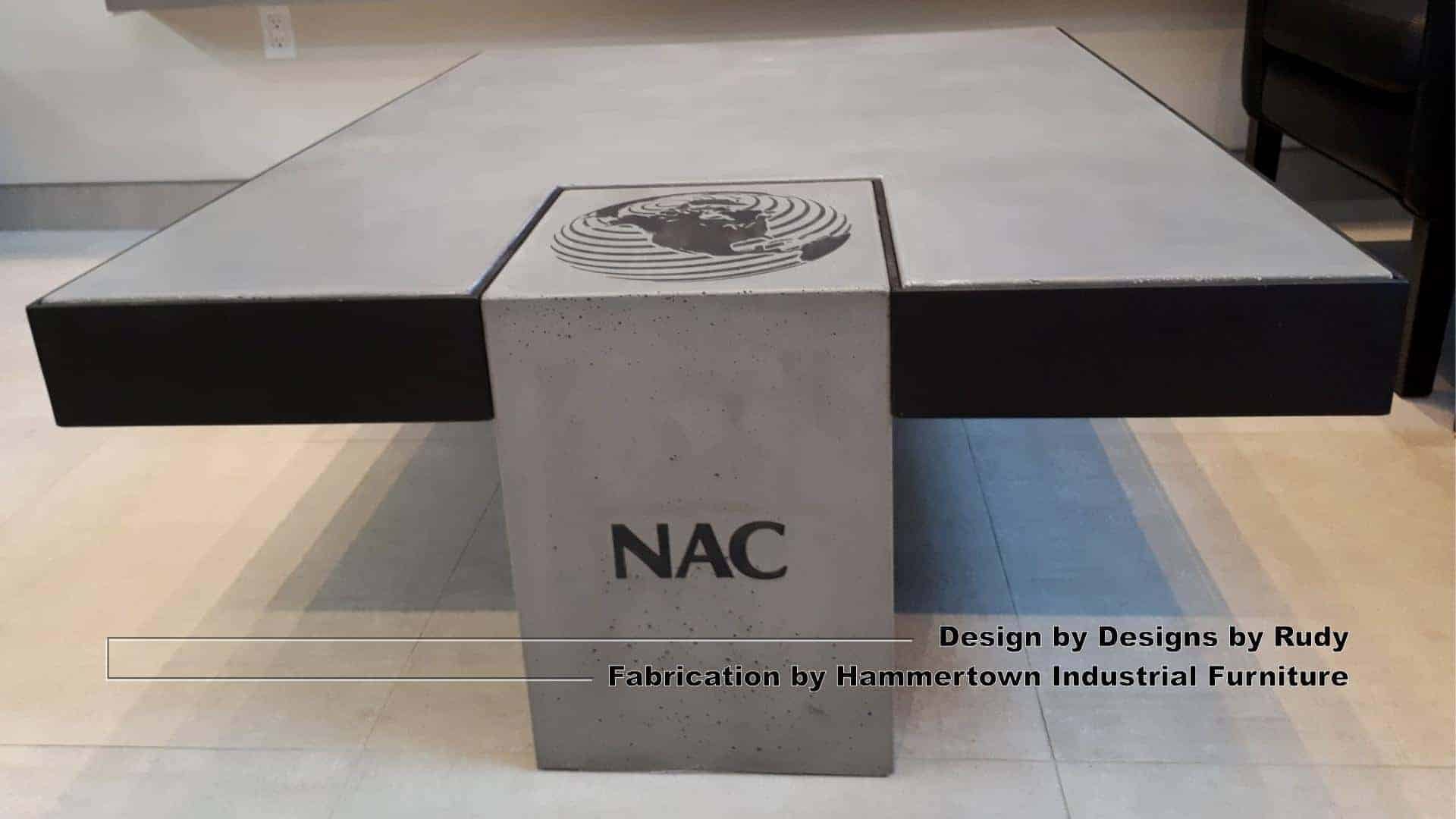 Concrete and steel coffee table for NAC, Designs by Rudy, Hammertown Industrial Furniture, view 4