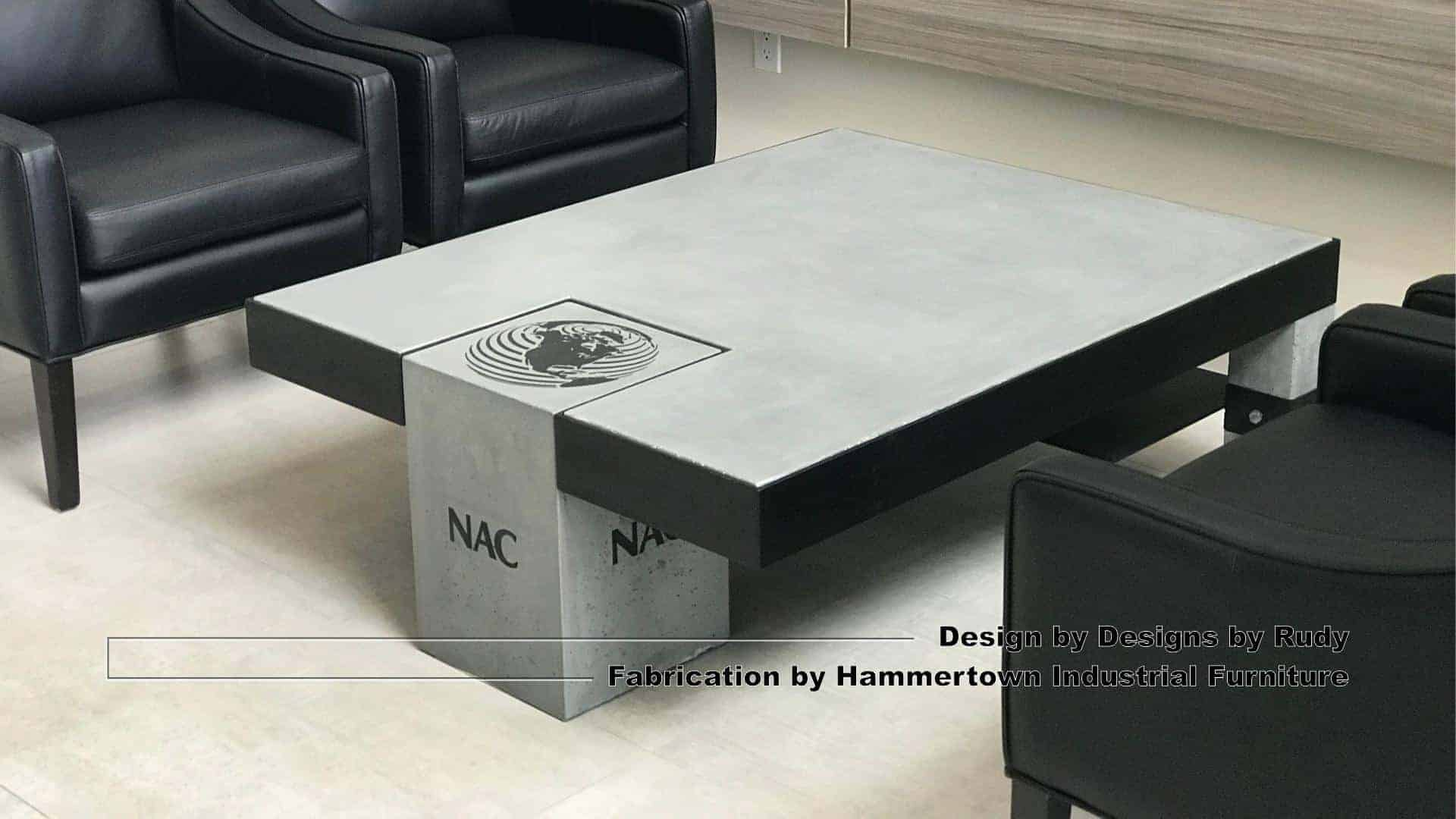 Concrete and steel coffee table for NAC, Designs by Rudy, Hammertown Industrial Furniture, view 5