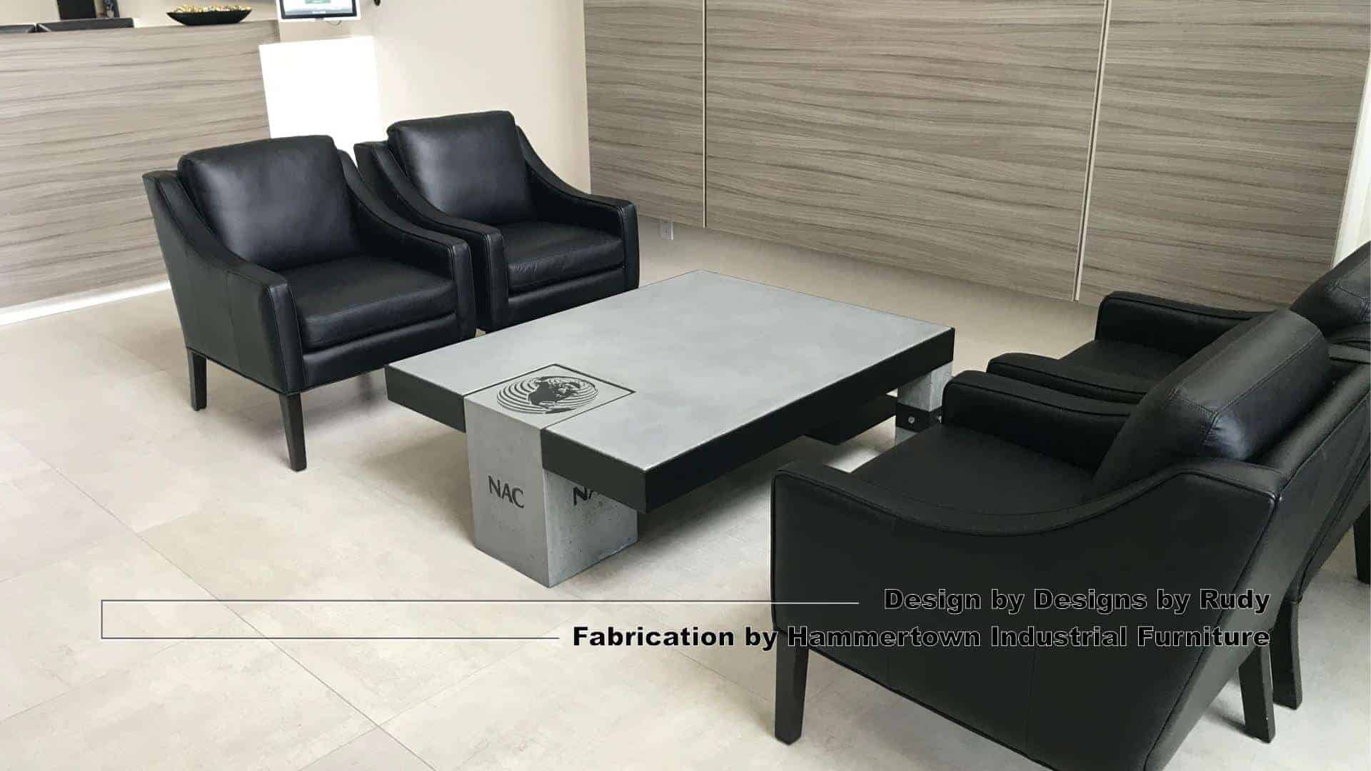 Concrete and steel coffee table for NAC, Designs by Rudy, Hammertown Industrial Furniture, view 6