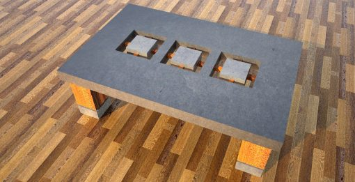 Concrete coffee table with 3 cutouts 1 by Designs by Rudy