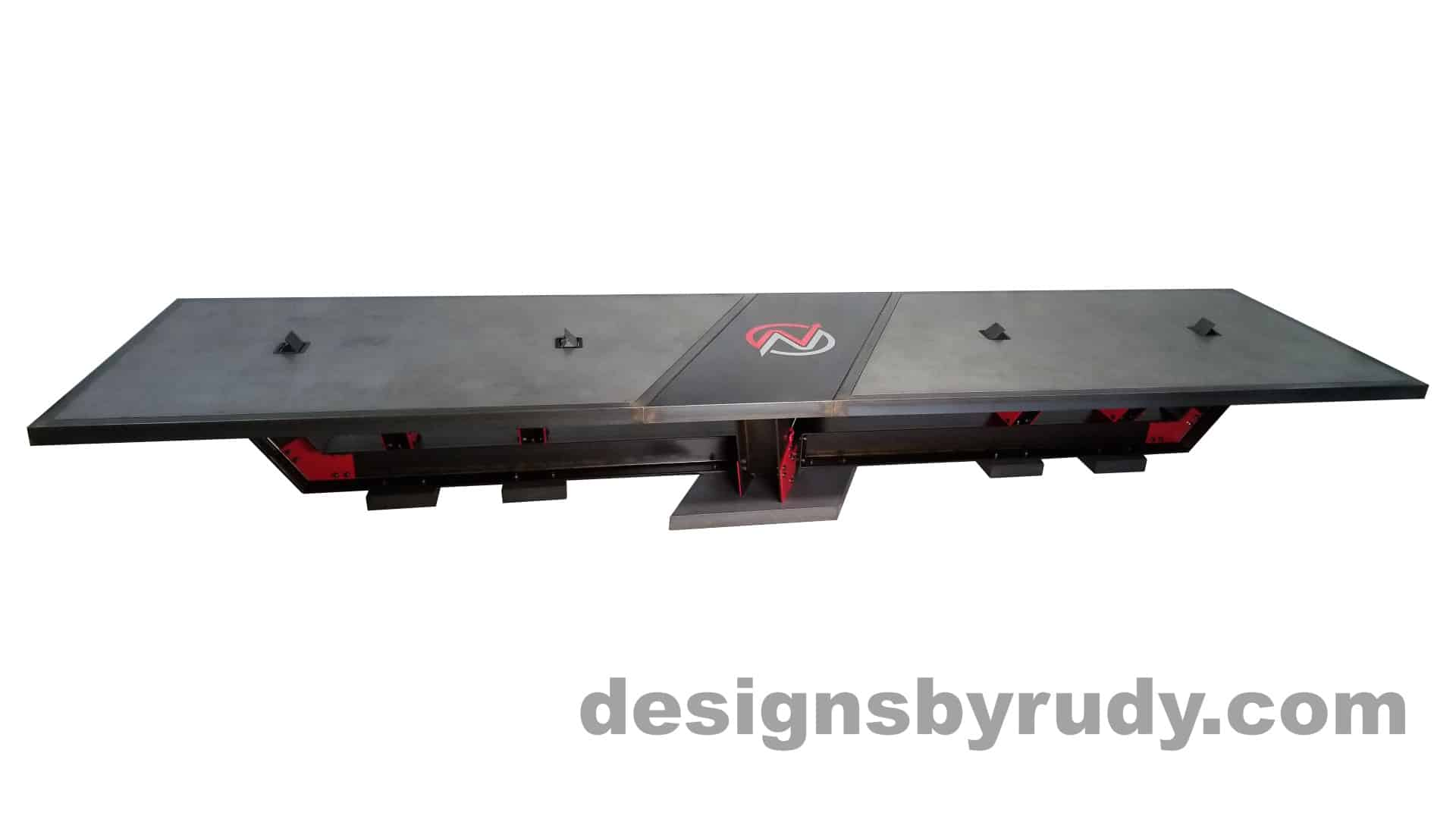 1 Steel and concrete conference table, design and fabrication by Designs by Rudy, front view