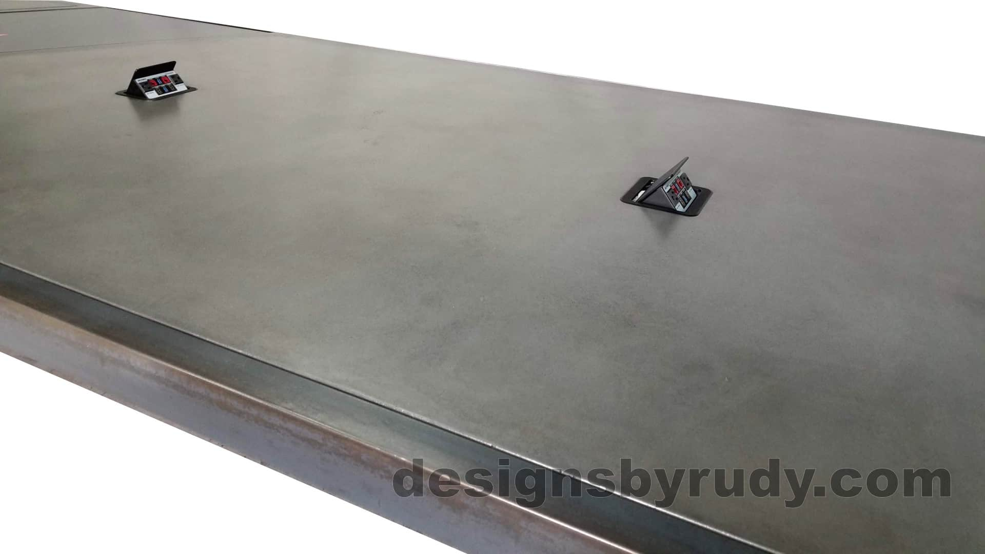 10 Steel and concrete conference table, design and fabrication by Designs by Rudy, AV ports view