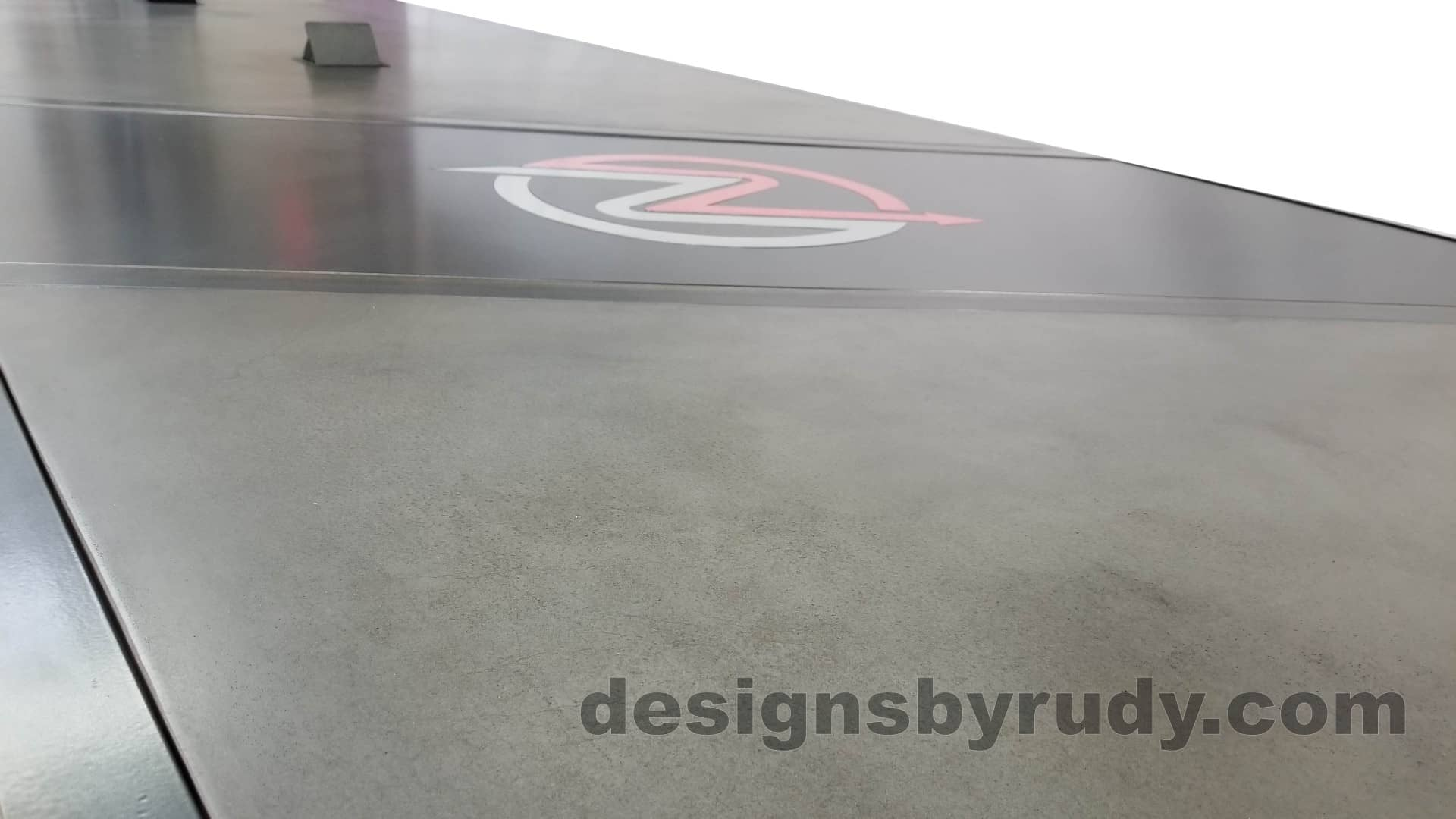 11 Steel and concrete conference table, design and fabrication by Designs by Rudy, low angle concrete view