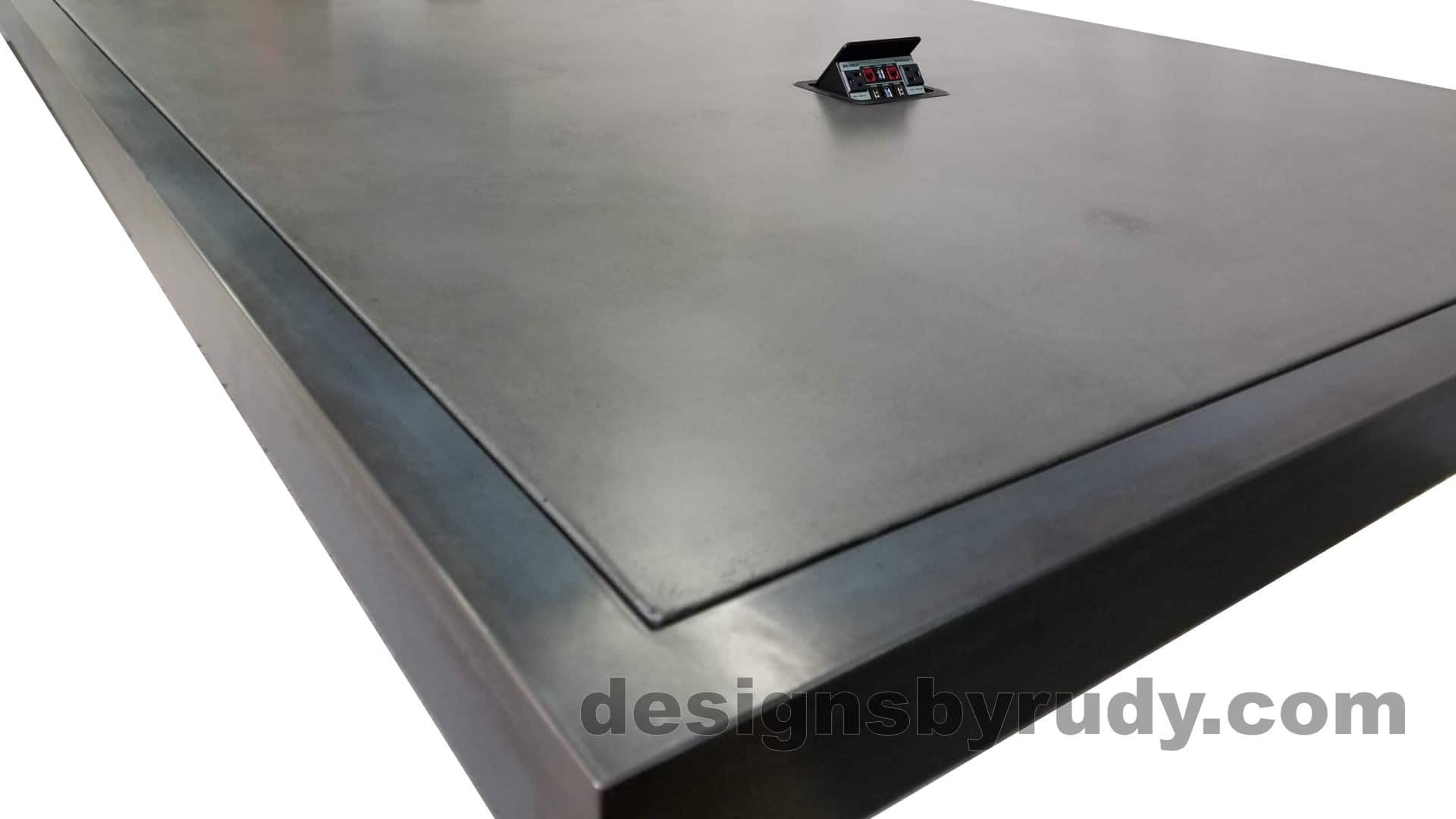 12 Steel and concrete conference table, design and fabrication by Designs by Rudy, low angle steel and concrete corner view