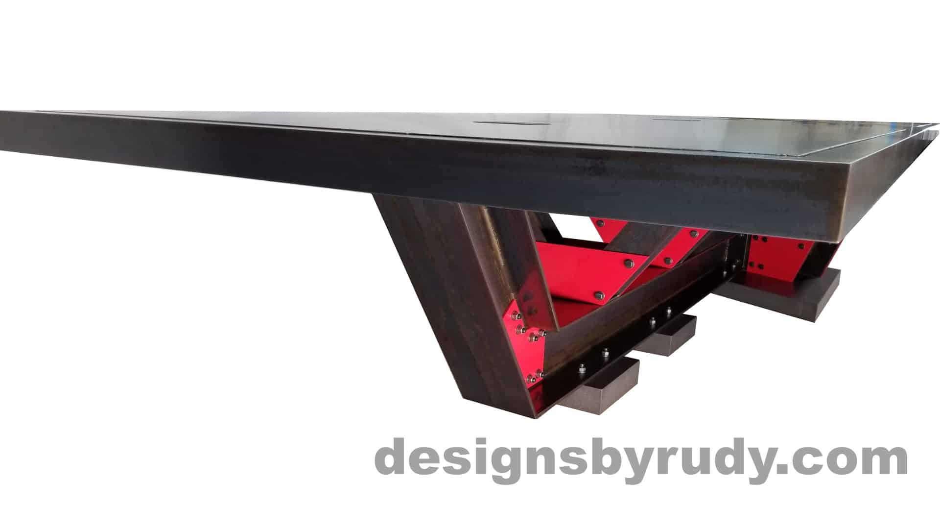 17 Steel and concrete conference table, design and fabrication by Designs by Rudy, base and narrow edge view